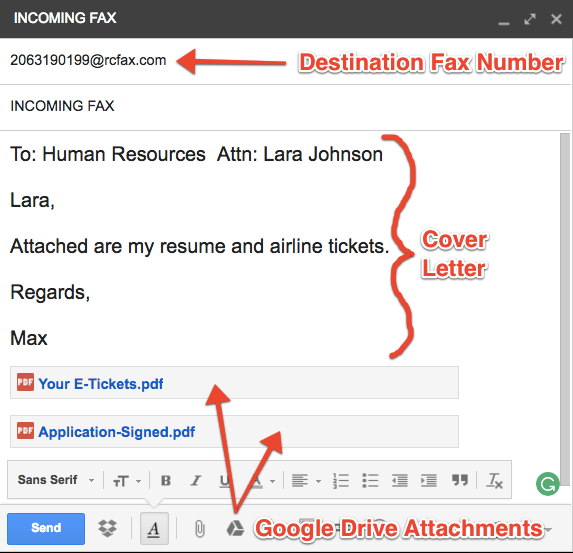 how to send a fax using google fax afax com