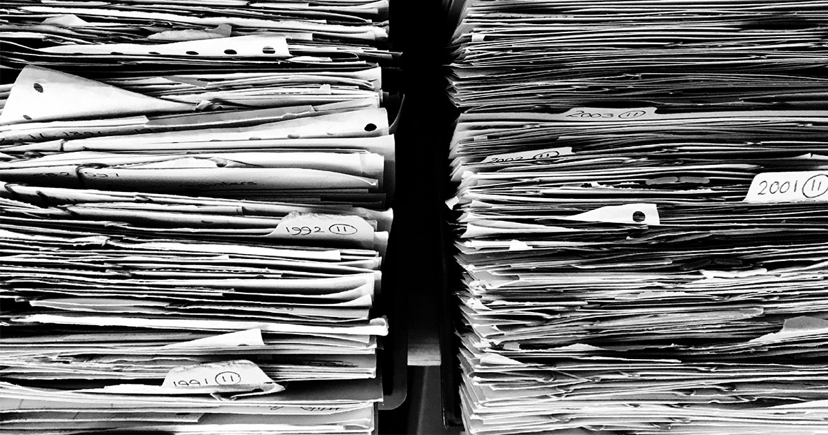 huge pile of files that you wont have if you switch to online faxing